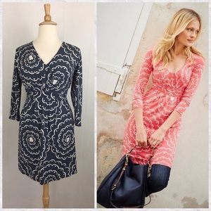 Boden Tall 3/4 Sleeve Gathered V-Neck Floral Tunic